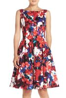NWT Maggy London Print floral Stretch Sateen Fit & Flare Dress Women's 14 $138
