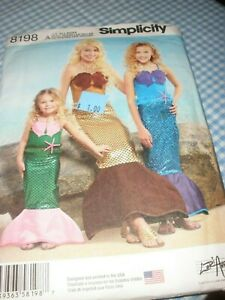 Simplicity 8198 Mermaid Costume All Sizes Toddler to Adult