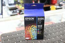 2023 Epson 252xl Black 252 Cyan Magenta Yellow ink high yield genuine oem sealed