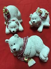 """Set of 3 Ceramic Holiday Christmas Polar Bears, approx 3"""" H by 4.5"""" long"""