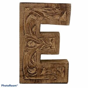 Handmade Wood Carved Monogram Letter E Display Decoration Made In India