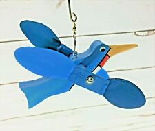 Hand Crafted Wood BLUE Bird Whirligig Outdoor Hanging Moving Wings, Yard Decor
