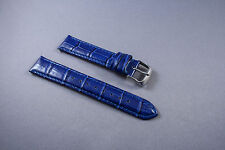 17mm NAVY BLUE WATCH BAND,STRAP GENUINE LEATHER  W/Quick Release Speed Pins