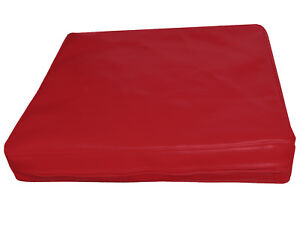 pe217t Red Faux Leather Classic Pattern 3D Box Cushion Cover Custom Size