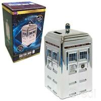 Doctor Who - Silver Ceramic TARDIS Money Bank - Special 50th Anniversary Edition