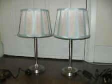Pair Of Matching Lamps + Shades Detailed Silver Nickel Style Duck Egg Shades