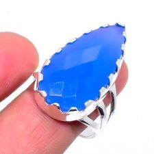 Blue Chalcedony Gemstone Ethnic Silver Fashion Jewelry Ring Size 9 SR-248