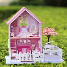NEW Dollhouse Miniature DIY Kit Dolls House With Furniture Gift Sakura Cabin HOT