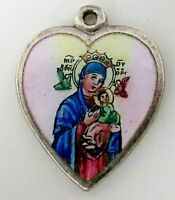 Vintage ~ VIRGIN MARY and BABY JESUS ~ Enamel Sterling Silver HEART Charm