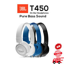 JBL T450 Wired Stereo Headphones Over-ear Pure Bass Sound Foldable New Blue