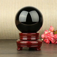 "4"" Black Obsidian Sphere 100MM Large Crystal Ball Healing Stone + Stand Base US"