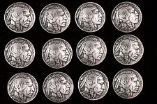 (12) BUFFALO NICKEL CONCHO / BUTTONS (FULLY DATED) (INDIAN HEAD). 1913-1938