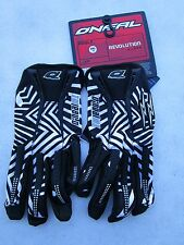 ONEAL REVOLUTION MAYHEM motocross gloves BLK/WHT adult sz 8 SMALL 0384-508