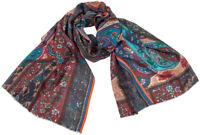 Print Schal Bordeaux Wolle Seide wool silk printed scarf Multicolor Floral