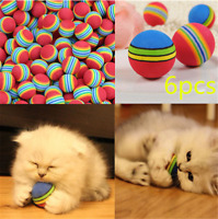 6pcs Pet Cat Kitten Soft Foam Rainbow Colorful Play Balls Funny Activity Toys