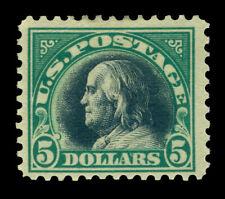 US 1918  FRANKLIN   $5.00 green & black  Scott# 524 mint MLH