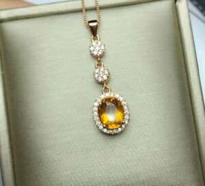 2Ct Oval Cut Yellow Citrine Halo Journey Pendant 14K Rose Gold Finish Free Chain