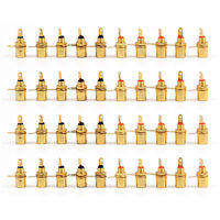 40 PC Gold Plated RCA Phono Chassis Panel Mount Female Socket Adapter UK