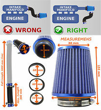 K&N TYPE INDUCTION KIT WITH AIR FILTER ADAPTERS FEED PIPE BLUE/CHROME – VW 2