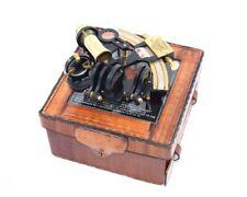 Antique Brass Nautical Sextant with Handmade Leather Case Vintage Marine Maritim