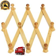 Home Aide Expandable Hook Wood Wall Peg Rack Wooden Expanding Accordian Style