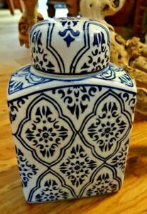 Small Blue And White Square Lidded Jar Home Decor by Uptown Collections