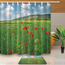 """Flower Bathroom Shower Curtain Wild red poppies and hill Waterproof Fabric 70"""""""