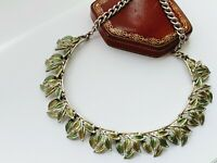 "Vintage 16""  Silver Tone Green Enamel Leaves Necklace"
