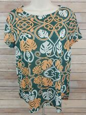H&M Conscious Women's Medium M Short Sleeve Green Gold Shirt Top Blouse EUC