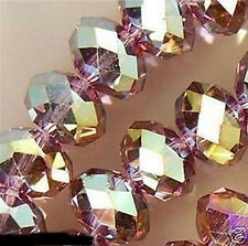 NEW 70PC Purple Multicolor Swarovski Crystal Faceted Gems Loose Beads 6X8mm
