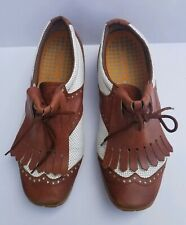 Womens Walter Genuin Leather Golf Shoes Size 7.5  fringe brown white classic