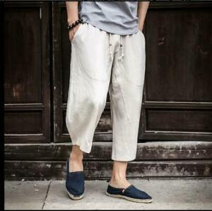 Men Beach Shorts Summer Loose Cropped Trousers Cotton Linen Casual Pants Outwear