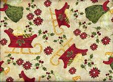 Christmas Sleigh Angels Green Red curtain valance