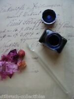 Authentic ANTIQUE 1920's HAND-BLOWN handmade twisted full glass dip ink pen vtg