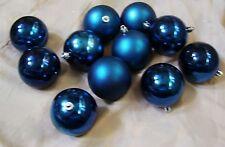 11 DARK BLUE SHINY MATTE SHATTER RESISTENT 2.5 IN CHRISTMAS ORNAMENT DECORATION