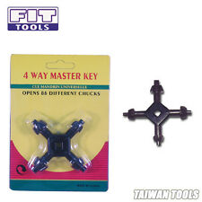 FIT TOOL  Small Universal 4-Way Drill Chuck Master Key (4 Sizes In 1 Key) -