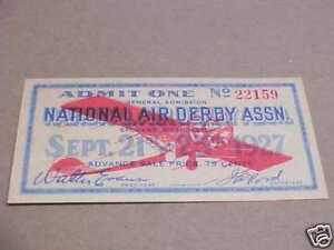 1927 NY Spokane Air Derby 7th National Air Race Ticket Spirit of St. Louis