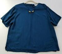 VTG Nygard Collections Women's Short Sleeve Blouse Top Medium M Blue Crew Rayon
