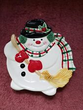 Fitz & Floyd ~ Holiday/Christmas Snowman Plate ~ Free Shipping!