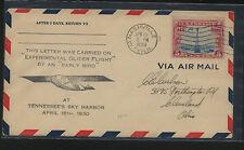 US  glider flight experiment  cover  1930  Nashville, TN    KL0702