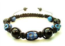 men's bracelet blue skull onyx stone beads shamballa wristband accessory men