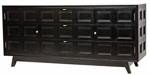 "73"" Long Sideboard Buffet Solid Mahogany Wood Black Charcoal Finish Modern"
