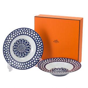 HERMES Soup Plate Bleus d'Ailleurs Blue Dish Tableware 2 set New Unused 8.4 in