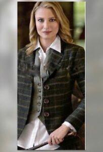CAbi #160 Wool Blend Gray Brown Plaid Equestrian Riding Club Jacket Coat 6 8