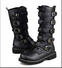 Mens Hots Punk Rock Goth Band Lace Up Buckle Zip Boots Motercycle Riding Shoes