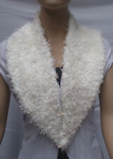 FASHION FAUX FUR COLLAR : PRE CUT AND FULLY LINED : CREAM : #T549 -