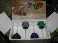 SET OF 4 - AJKA KARO CUT CASED CRYSTAL WINE GOBLETS - MADE IN HUNGARY - WITH BOX