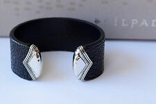 "Silpada Sterlng Silver ""Sting Ray"" Black Leather Cuff Bracelet B3222 $99"