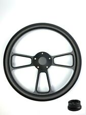 "14"" Black Billet Steering Wheel (Carbon Fiber Wrap, Horn Button, Adapter B01)"