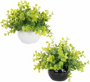 MyGift Artificial Boxwood Plants in Black and White Round Pots, Set of 2